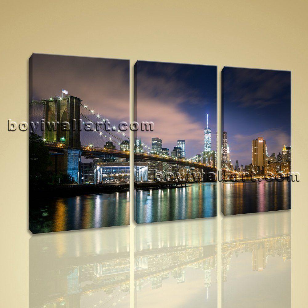 Framed canvas print home office wall decor art city new york
