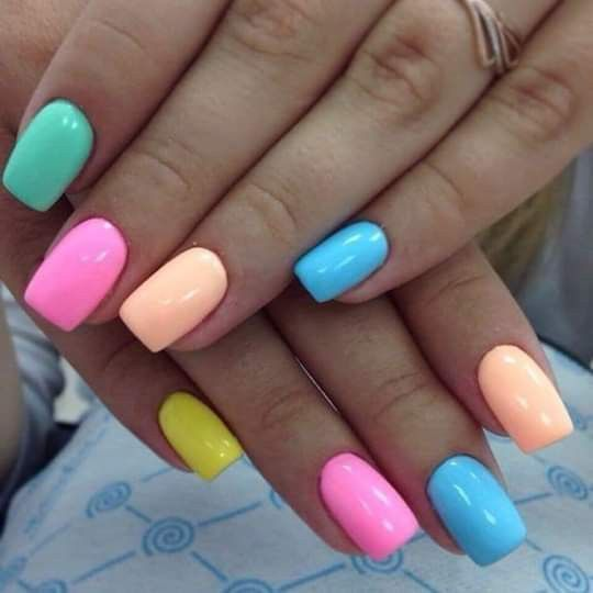 Multi color pastel colors nailart nail nailart nailidea nailinspiration naildesign nagel nageldekoration chiodo clou uña is part of Prom nails Red Tips - Prom nails Red Tips