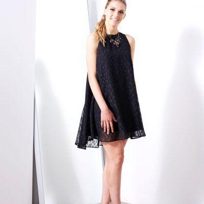 ASKARI Dakota Dress | Flowy A-line dress in Sheer Leopard  print