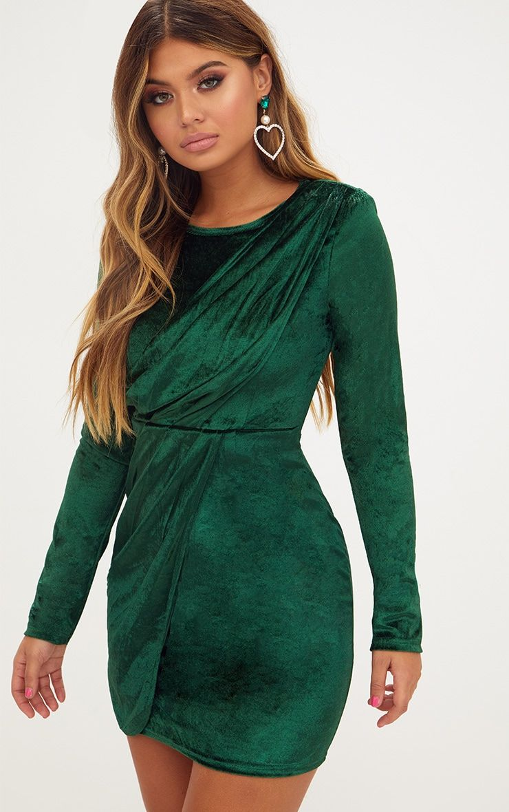 496b3eb38d67 Emerald Green Long Sleeved Velvet Wrap Detail Bodycon Dress | outfit ...