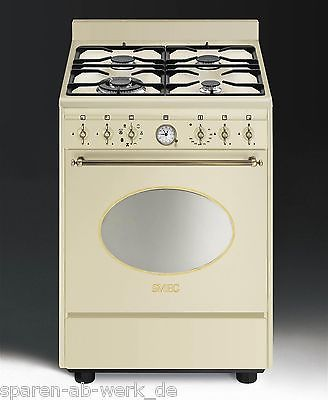 Smeg Gas Elektro Standherd Co68gmpd9 Nostalgie Gasherd Creme 60 Cm