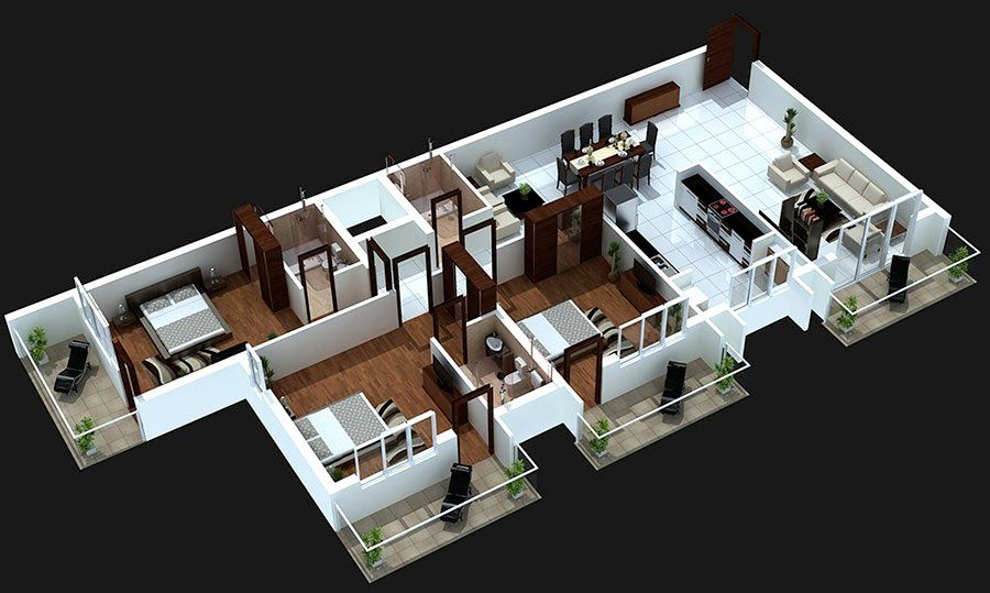 House Plans 3 Bedroom New 3 Bedroom Apartment House Plans In 2020 House With Balcony House Design Pictures Small House Design