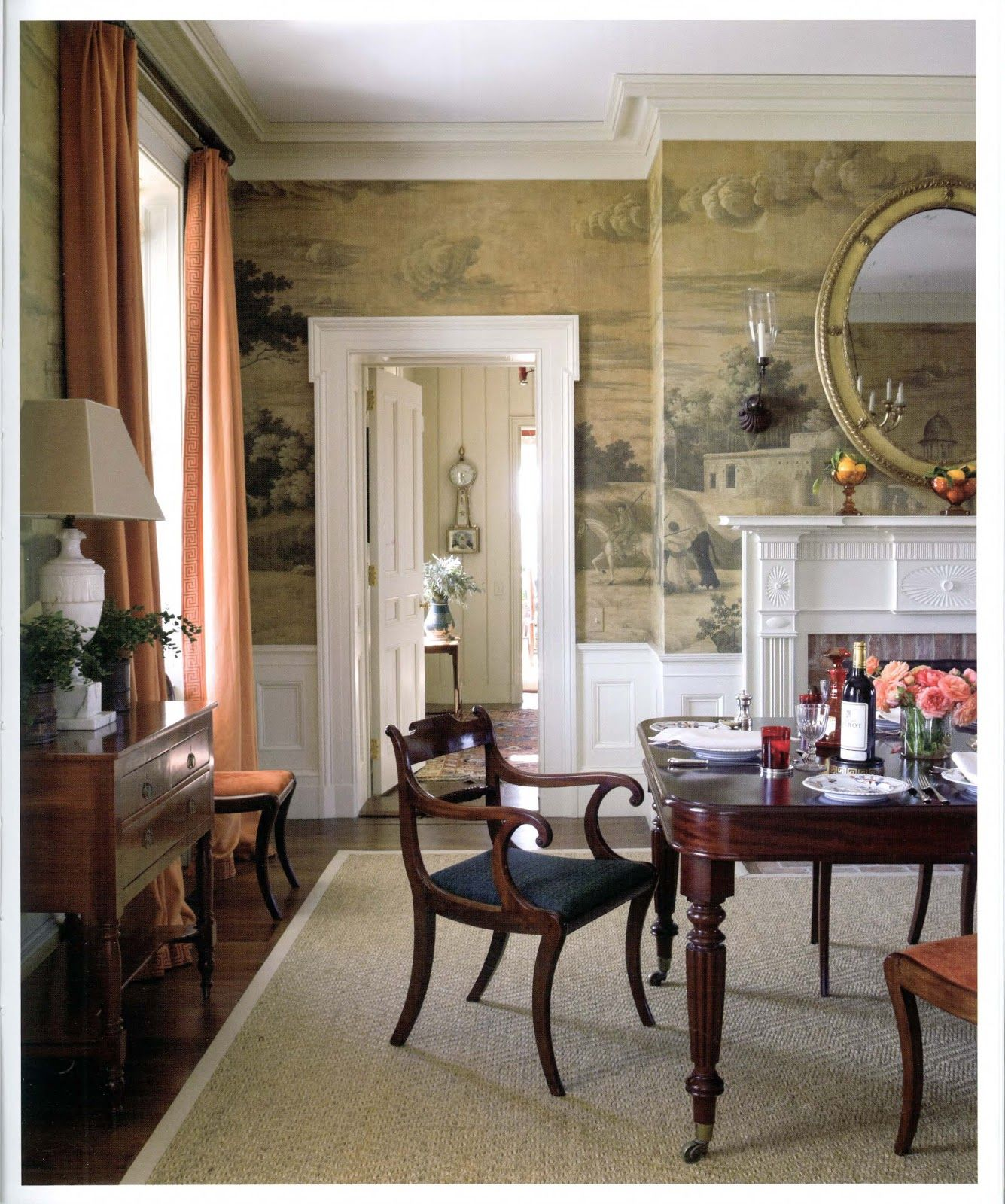 Dining Room Fireplace And Mirror Gil Schafer