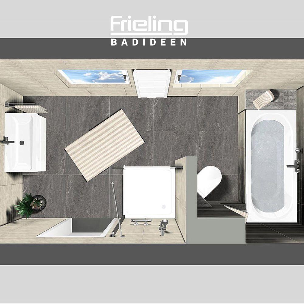 Das Bad Aus Zwei Raumen 3d Planung Vogelperspektive Bad Grundriss Haus Gestalten Badezimmer