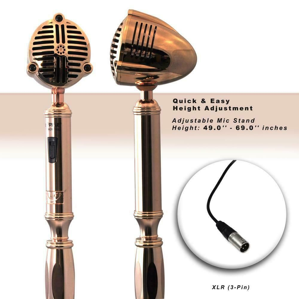 New Pyle PDMICR74GL Classic Retro Vintage Style Microphone /& Swing Stand Gold