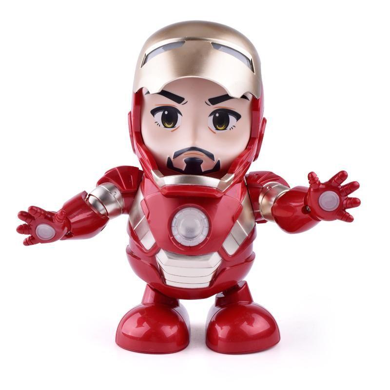 Iron Man Bumblebee Dance Hero Robot Spiderman Figure Toy LED Light With Sound DE