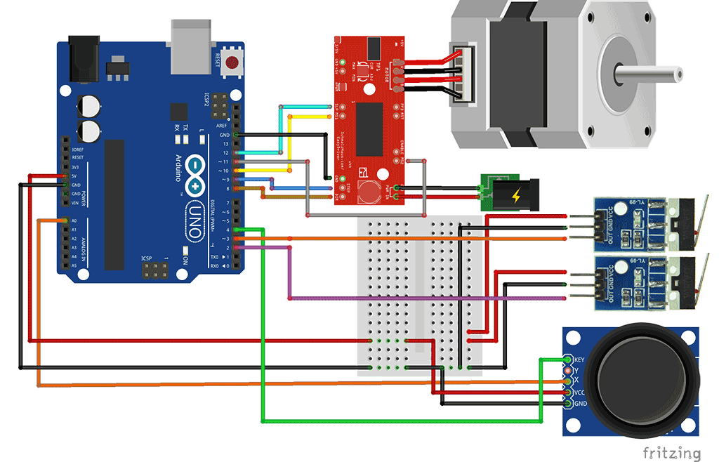 Stepper Motor With Joystick Limit Switches Brainy Bits Canada Stepper Motor Arduino Arduino Stepper Motor Control