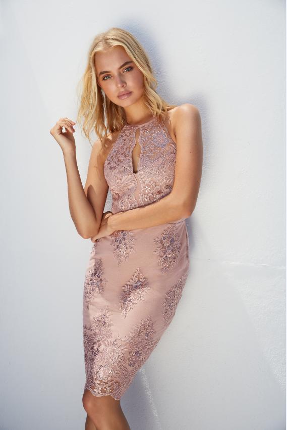 10d912e115e Lipsy Sequin Lace Apron Bodycon Dress