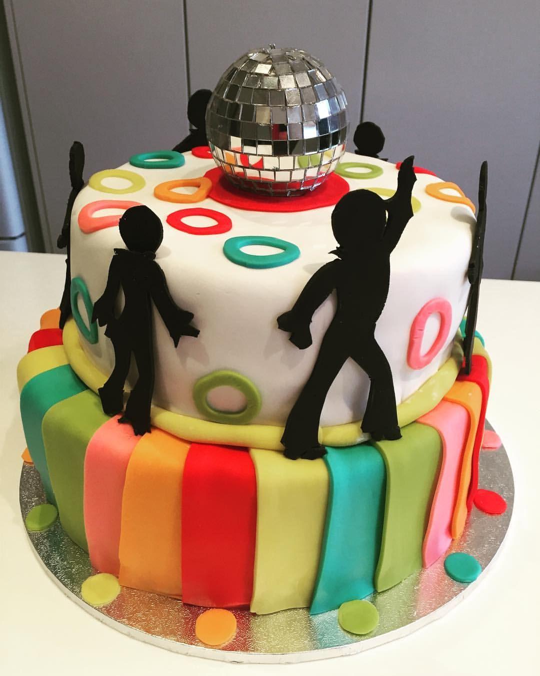Disco birthday cake today! Belgian chocolate fudge piñata