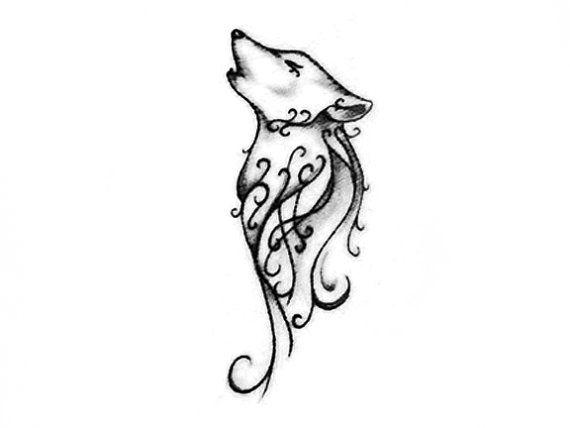 articles similaires à loup mignon dessin de conception de tatouage