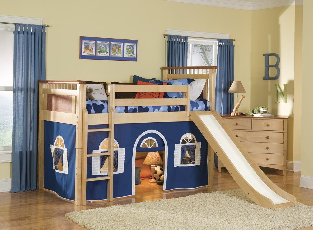 Bennington Loft Bed w/ Slide (blue/white on natural
