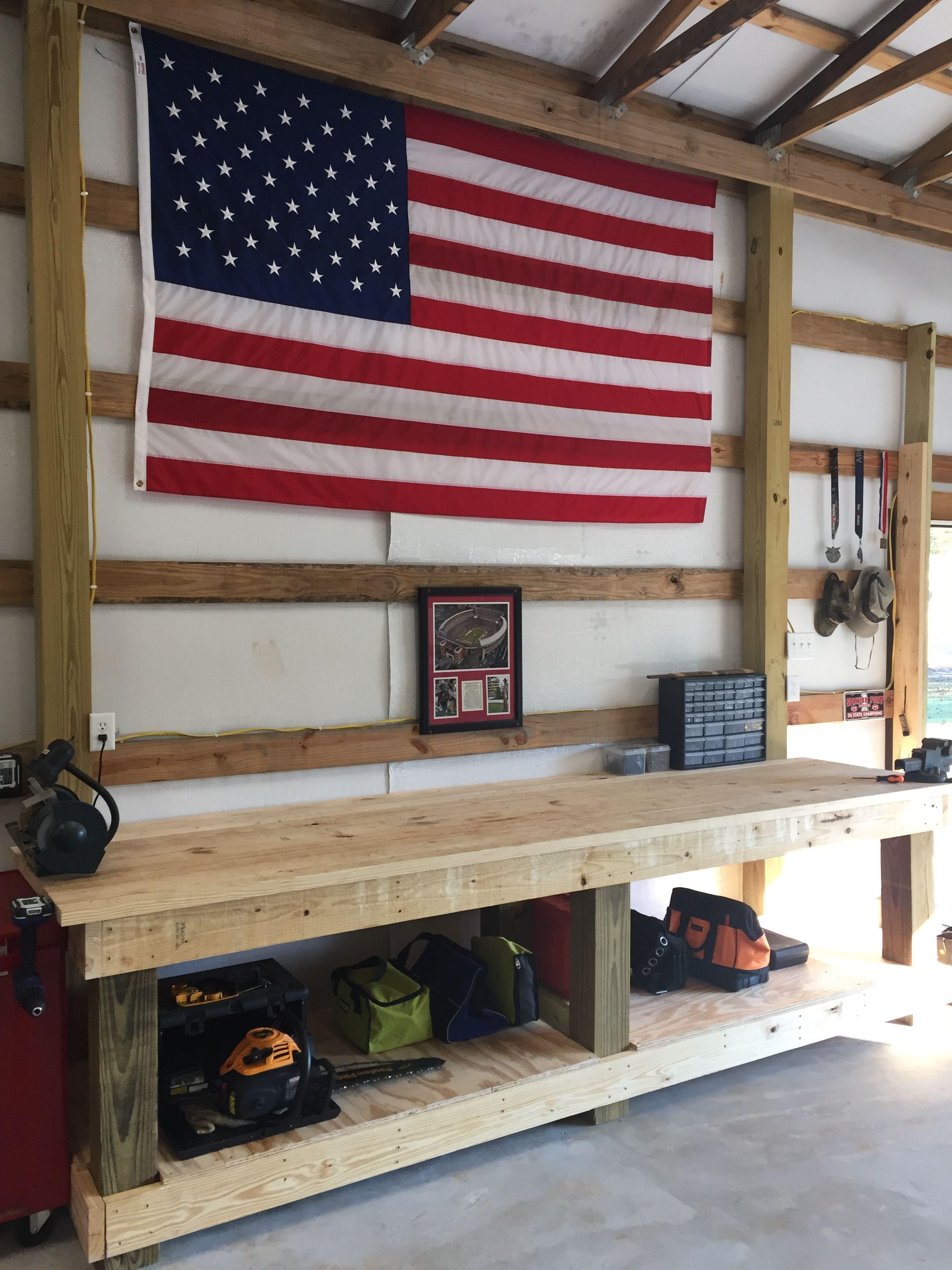 Pole Barn Shop Interior Ideas : interior, ideas, Poles, Bench., Barn,, Workbench