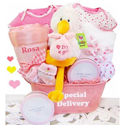 Cashmere bunny personalized a special delivery girls gift basket goodies for the baby girl personalized plush stork gift basket negle Gallery
