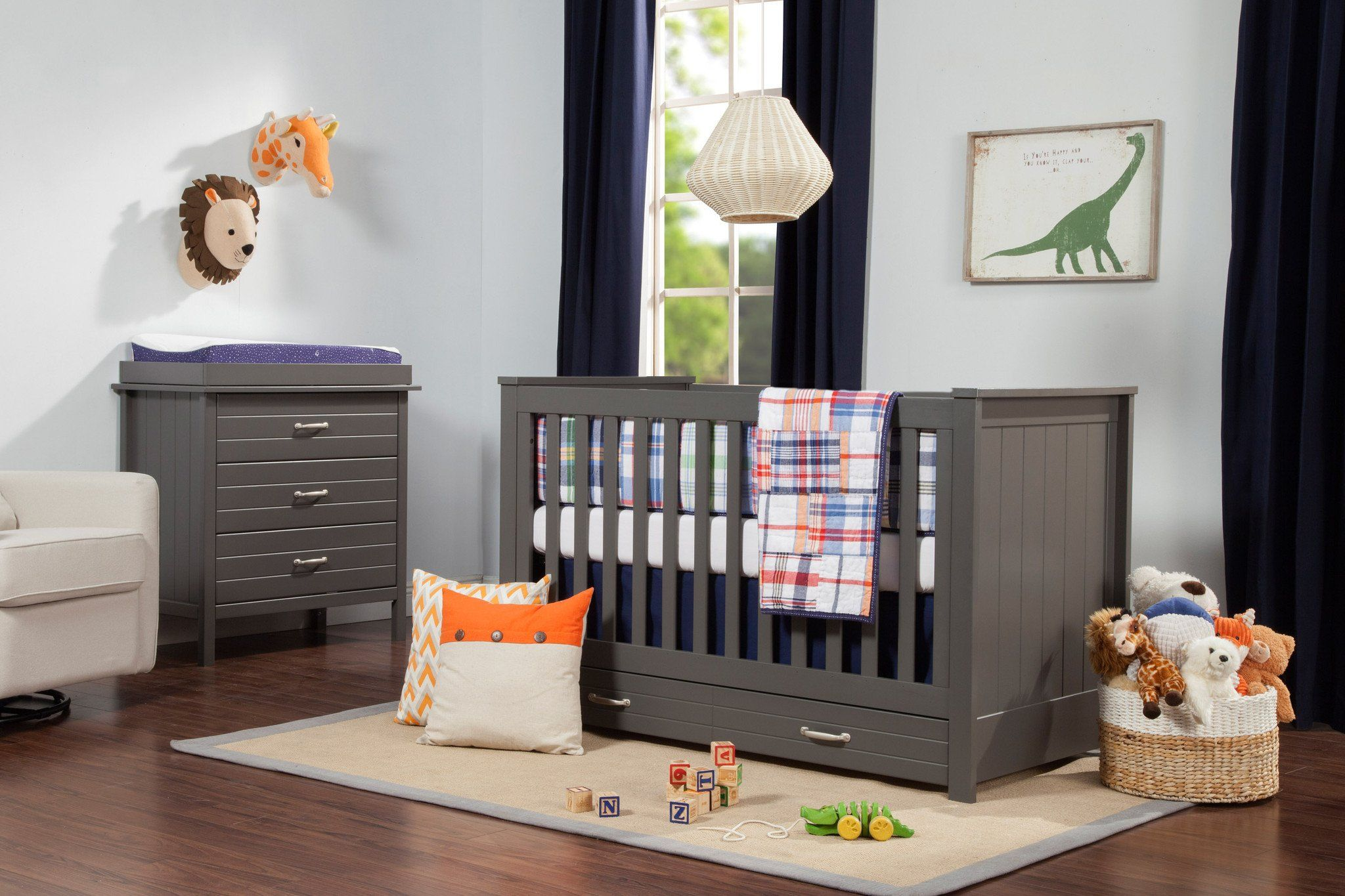 Asher 3 In 1 Convertible Crib With Toddler Bed Conversion Kit