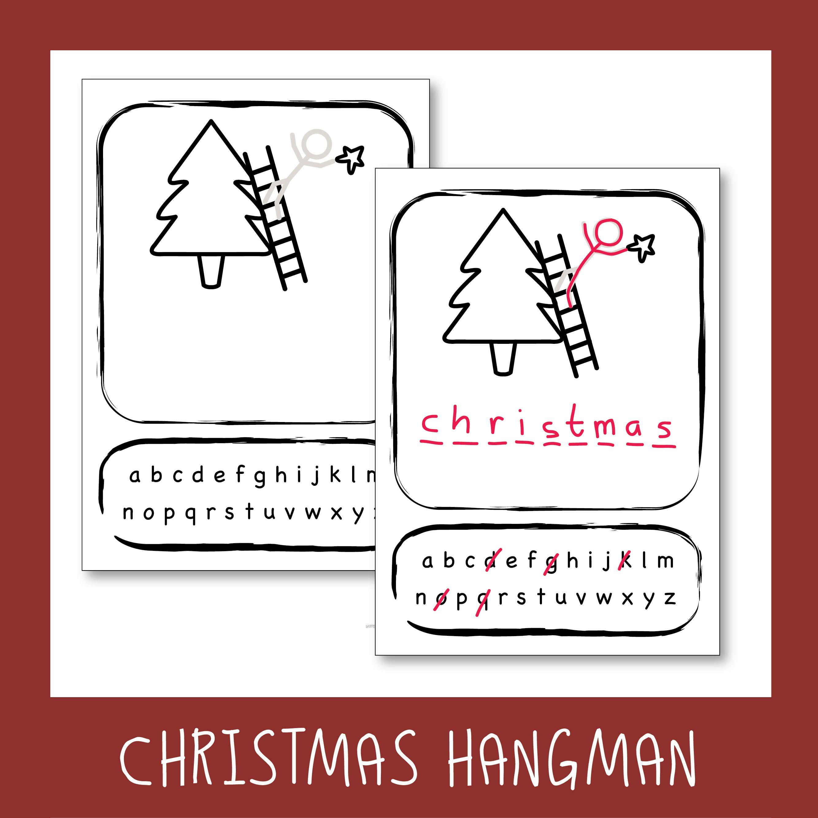 Free Christmas Hangman Template Hangman words, Templates