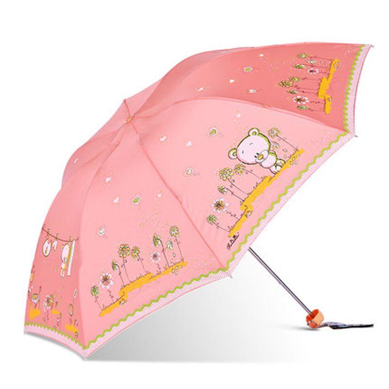 Folding Rain Umbrella Windproof Women Girl Gift Super Compact Foldable