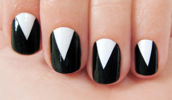 Elegant V Black And White Nail Designs White Nail Designs White Nails