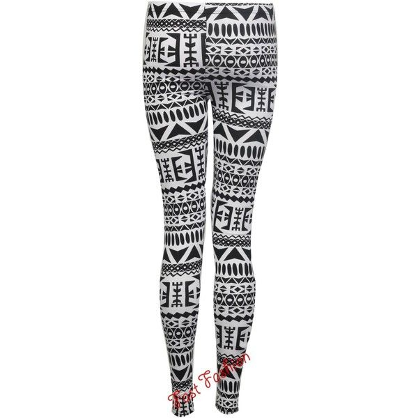 Womens Full Length Aztec Navajo Tribal Print Jersey Leggings Size 8-14... ($11) ❤ liked on Polyvore