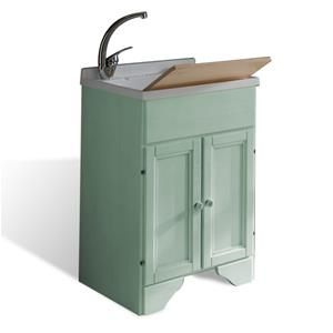Mobile lavatoio in legno decapé Verde 50x50 asse in PVC