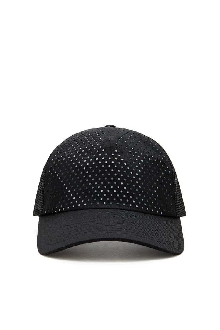 An athletic mesh hat featuring a reflective front underlay and a snap back  closure.