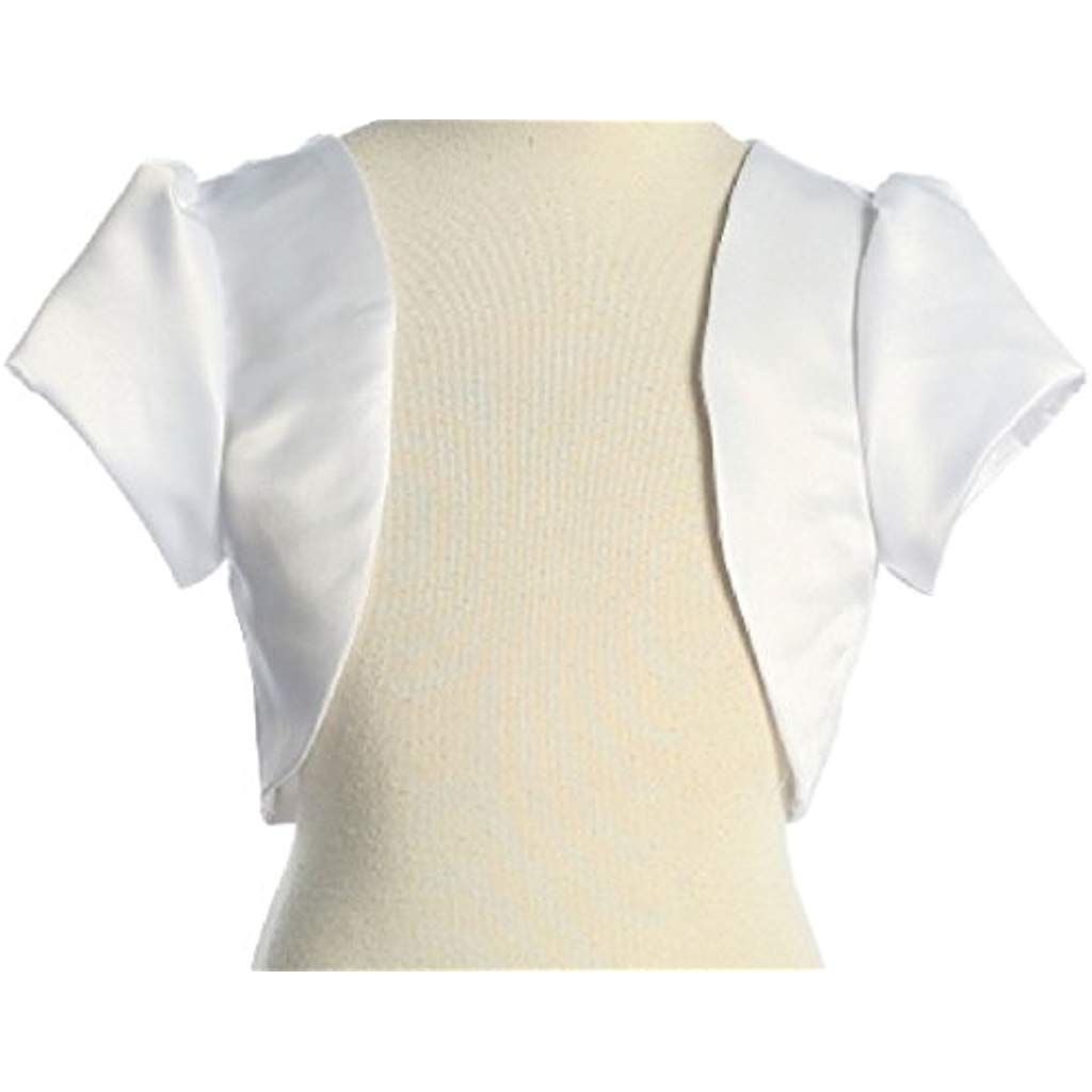 Lito Little Girls Ivory Satin Special Occasion Bolero Shrug 2T-7