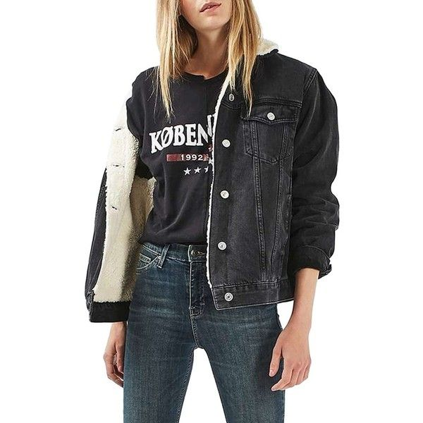 Women's Topshop Moto Borg Lined Denim Jacket ($125) liked ...