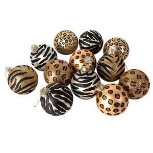 Sterling 4 In Exotic Animal Print Glass Ornaments Set Of