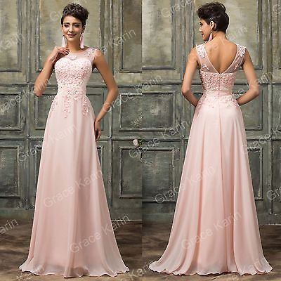 2-24 Formal Long Lace Applique Beaded Wedding Ball Gown Evening Prom ...
