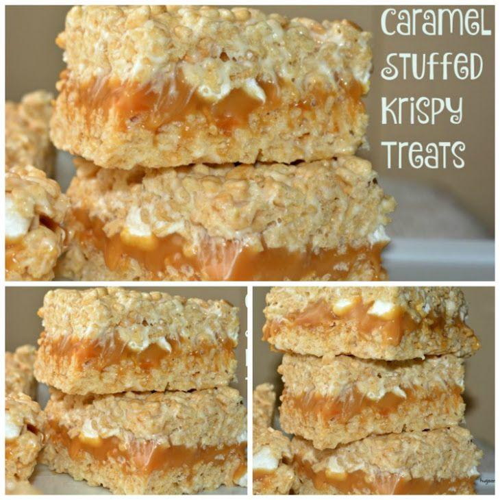 Caramel Stuffed Krispy Treats Recipe Yummly Recipe Rice Krispie Treats Crispy Treats Krispie Treats