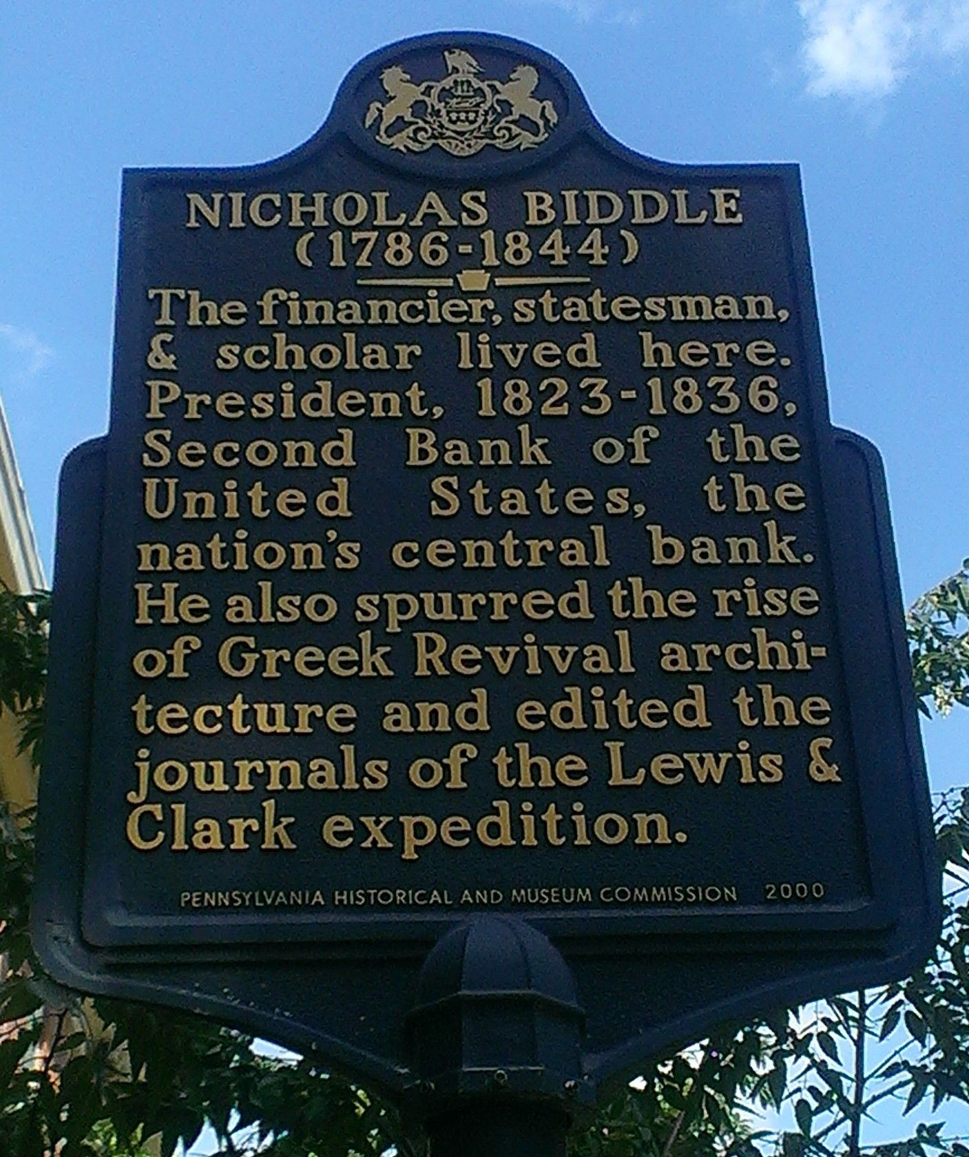 Nicholas Biddle This Marker Is Located At 715 Spruce Street Historical Marker Philadelphia History Covered Bridges