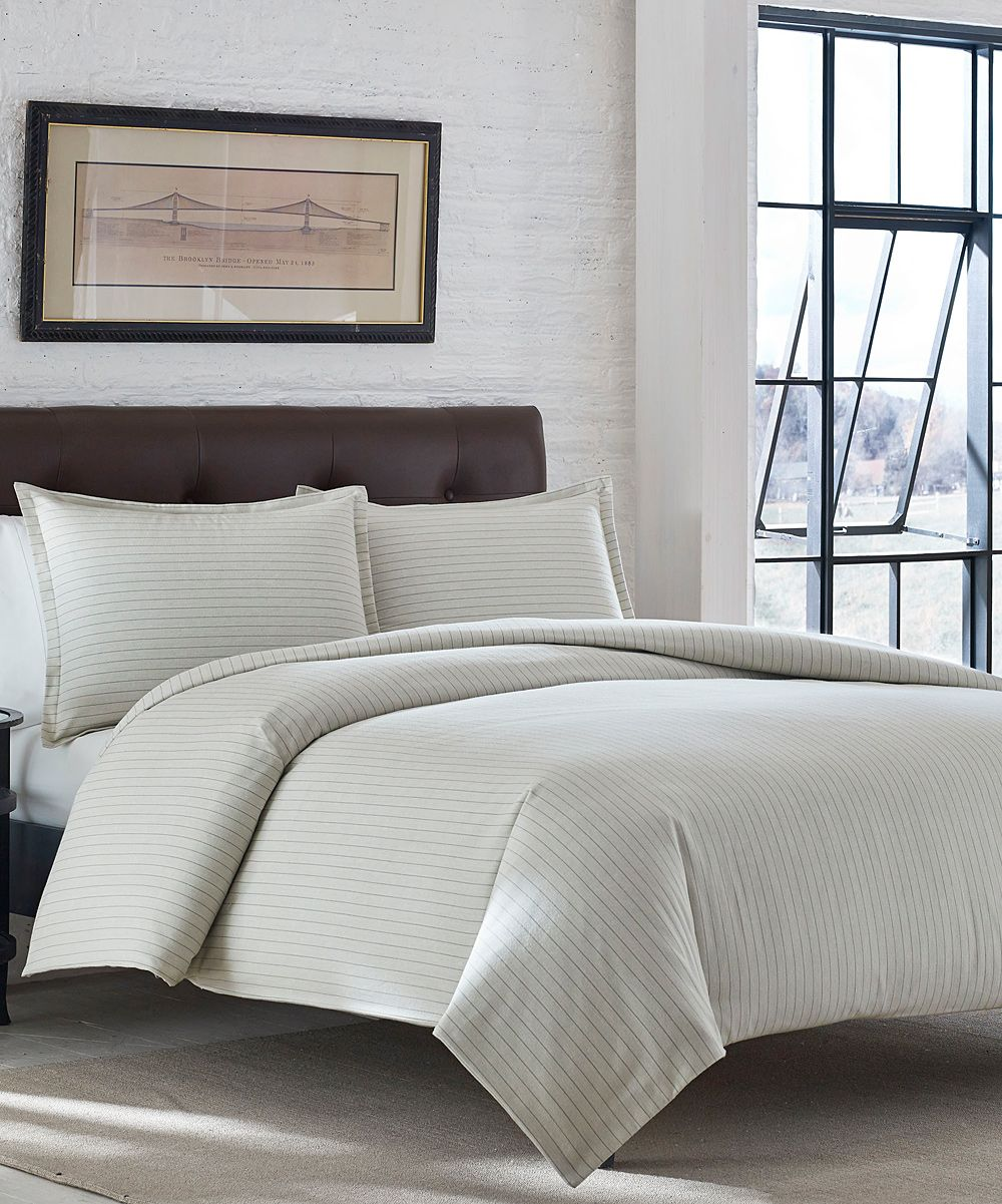 Zulily 50 Ivory Wallace Stripe Flannel Duvet Cover Set