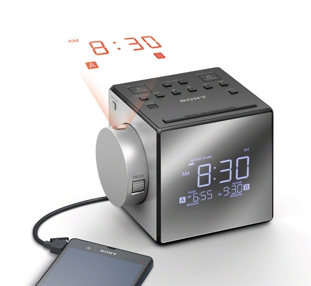 New!! Sony Projection Auto Set Dual Alarm Clock Radio Nature Sounds ...