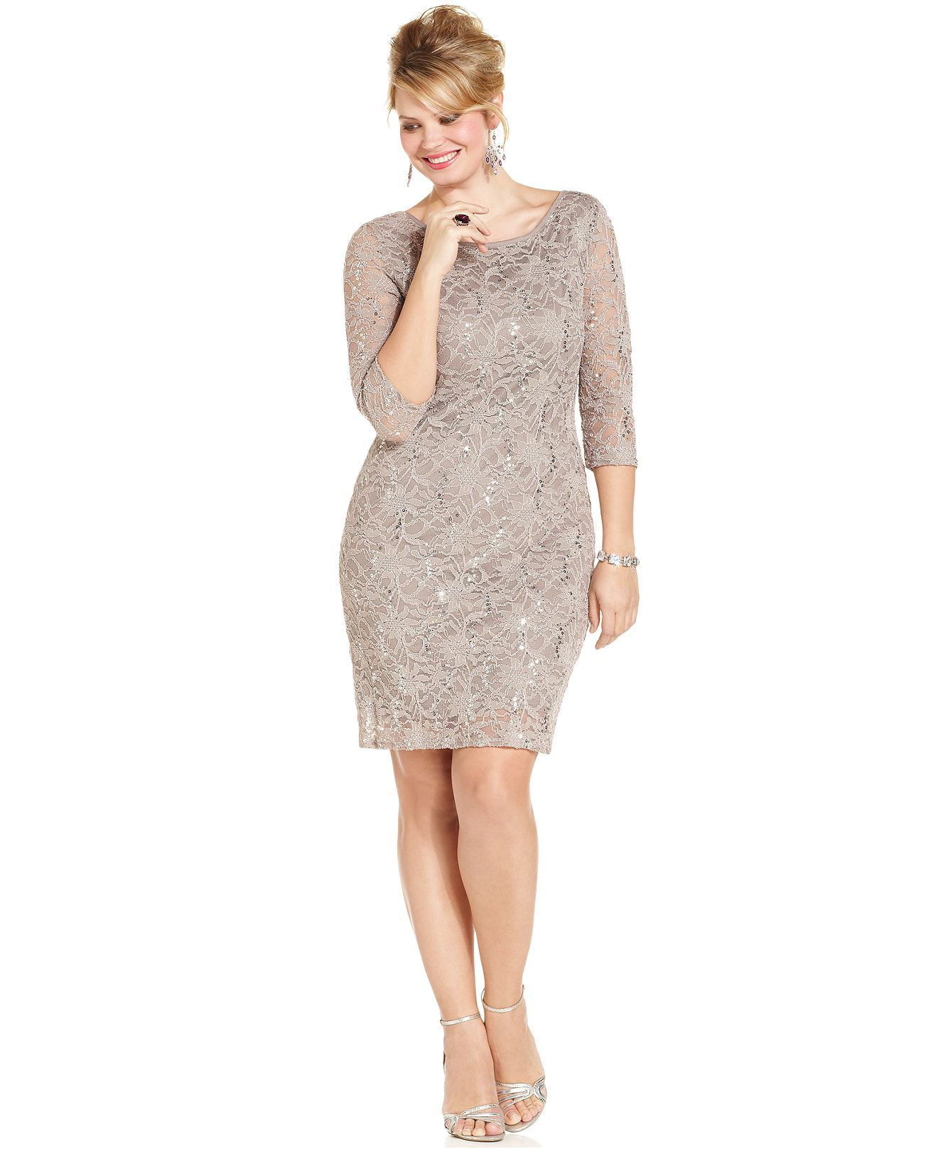 Onyx Plus Size Dress Three Quarter Sleeve Sequined Lace Plus Size