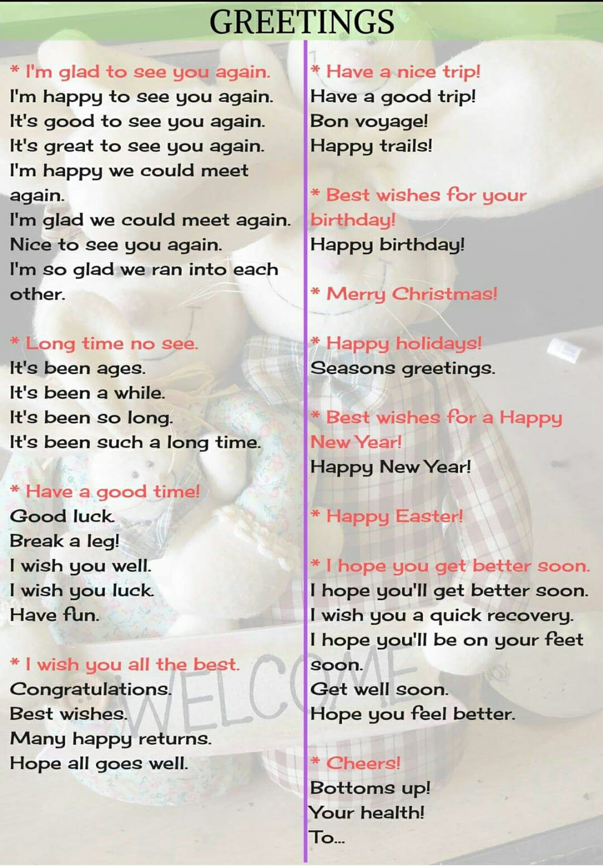 Greetings English Language Pinterest English English Phrases