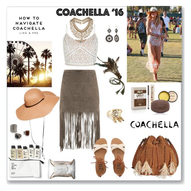 """""""Coachella - 3"""" by ludmyla-stoyan ❤ liked on Polyvore featuring MuuBaa, MANGO, Jurlique, Billabong, Olivella, H&M, Patricia Nash, Red Camel, Korres and Topshop"""