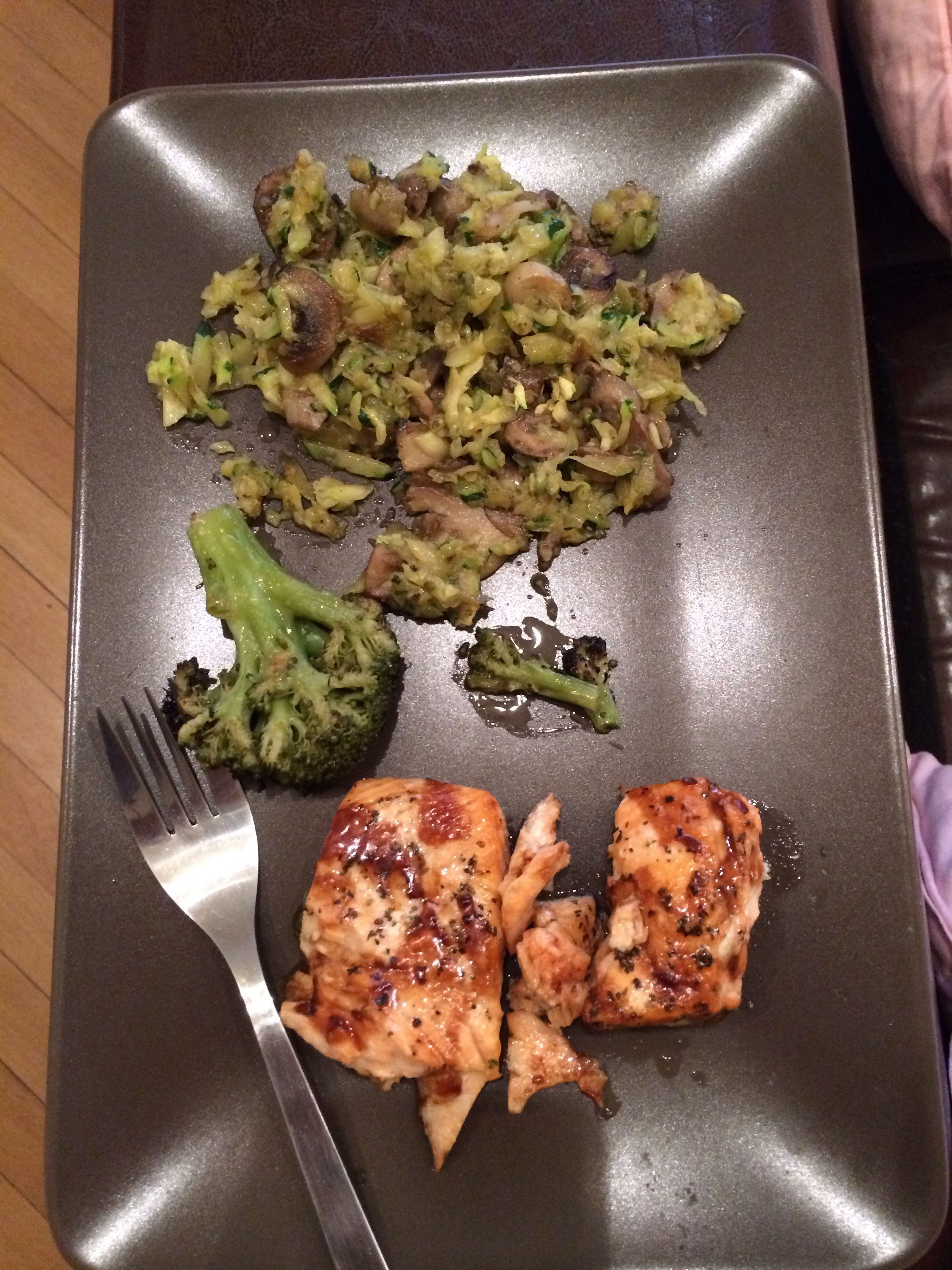 Salmon with teriyaki sauce, brocolli, mushrooms and zucchini  Healthy and nutrient meal