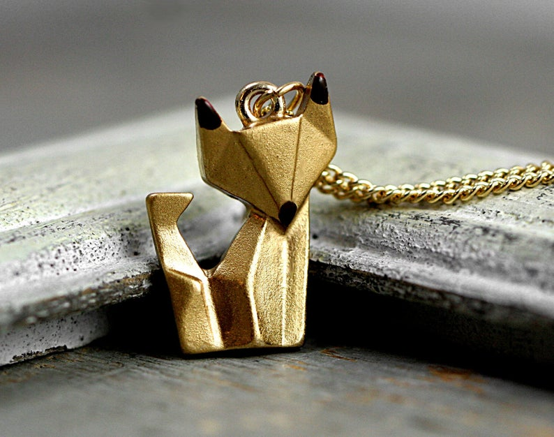 Photo of Origami fox necklace. Hand patinated golden fox with enameled ears and snout. Animal necklace for her.