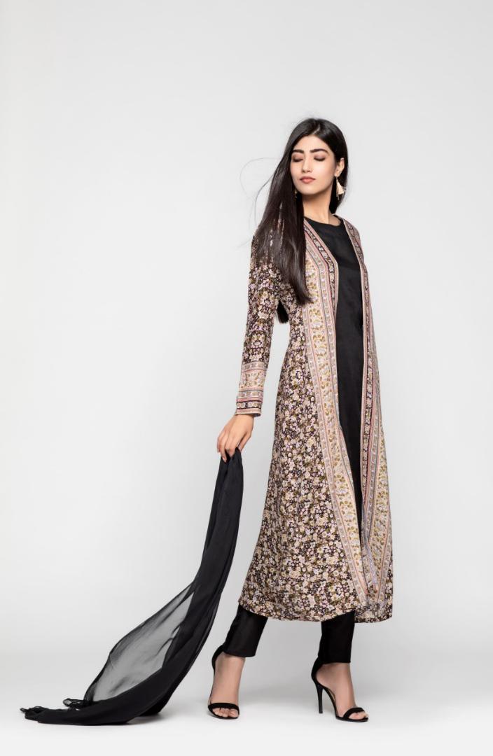 Black Blue Floral Print Jacket Suit Desi Outfits Suits
