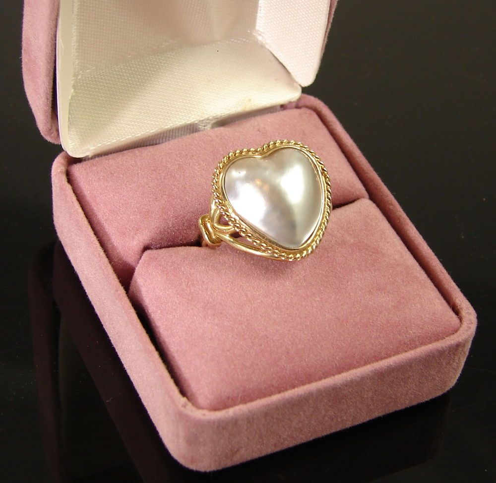 Cultured Heart Mabe Pearl Ring 14K Yellow Gold Size 5 1/2 NWOT ...