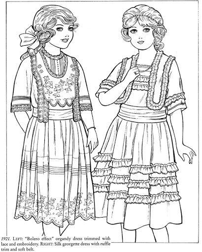 Victorian & Vintage Fashion - Coloring Pics - free Dover Sampler - Mama Mia - Álbumes web de Picasa