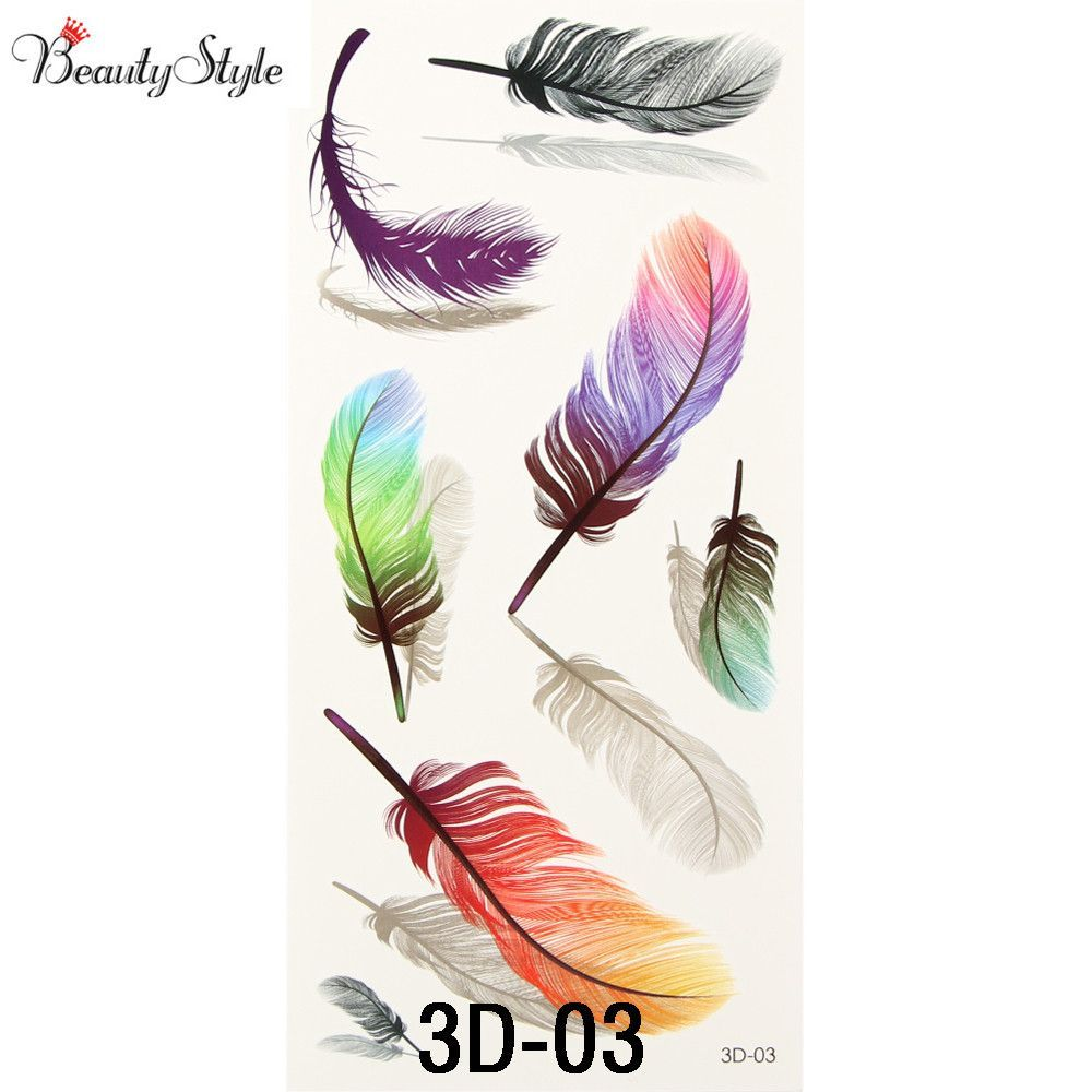 US $2.39 20% OFF|10PC Inspire Colorful 3D On Body Art Chest Shoulder