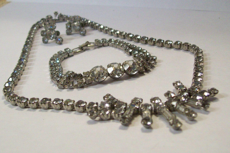 Vintage Rhinestone jewelry set necklace bracelet earrings. $30.00, via Etsy.