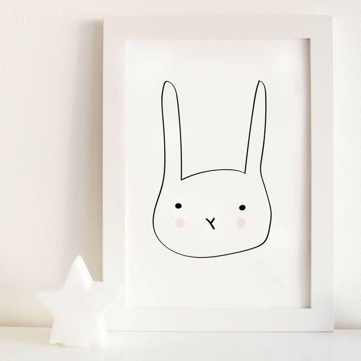 Children\'s Rabbit Illustration Print   Cuadros vintage, Marcos y Cuadro