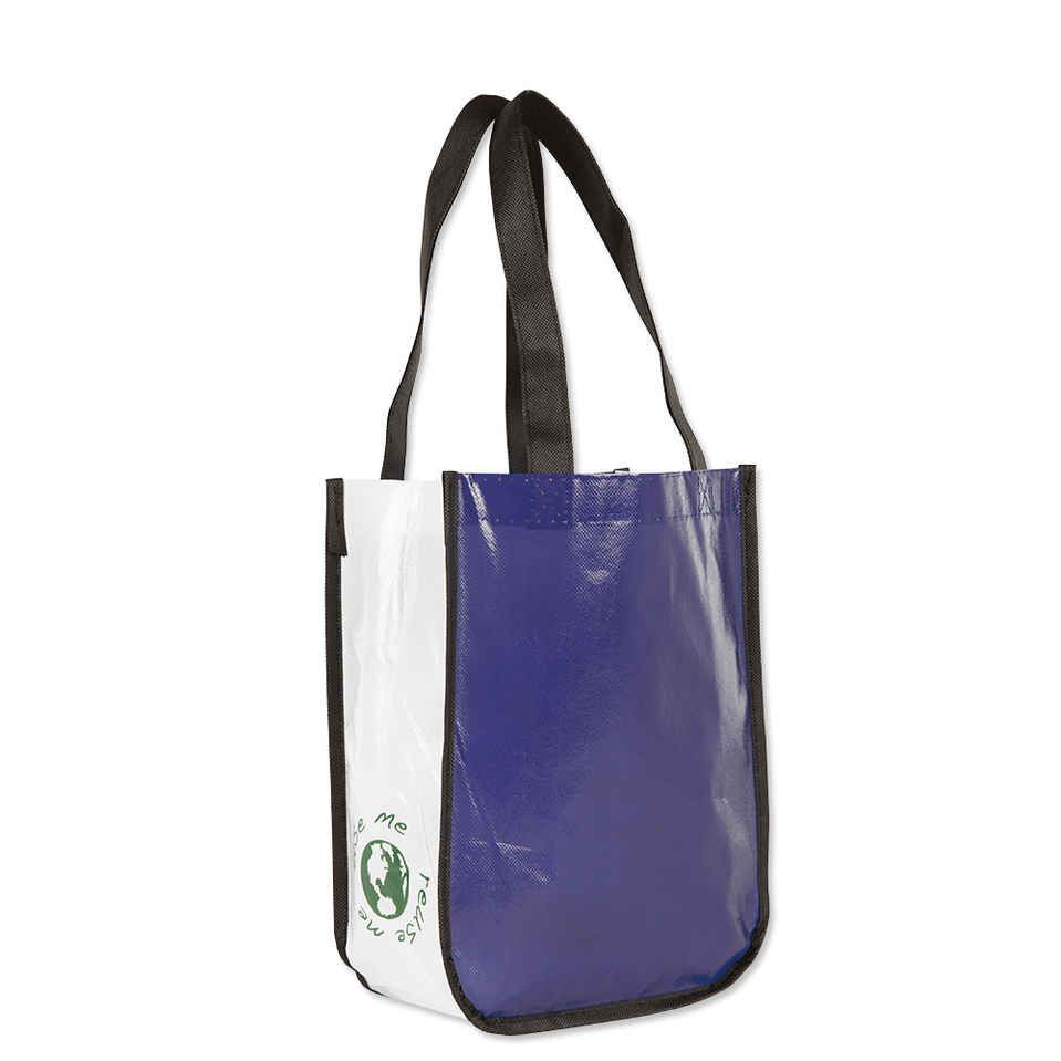 Design Custom Printed Contrast Small Laminated Shopper Totes Online at CustomInk