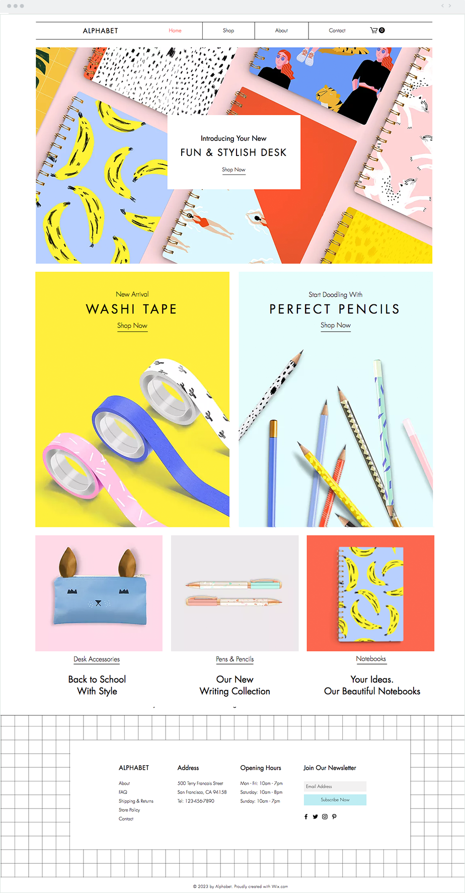 Stationery Online Store Website Template Online Store Design Portfolio Website Design Wix Templates