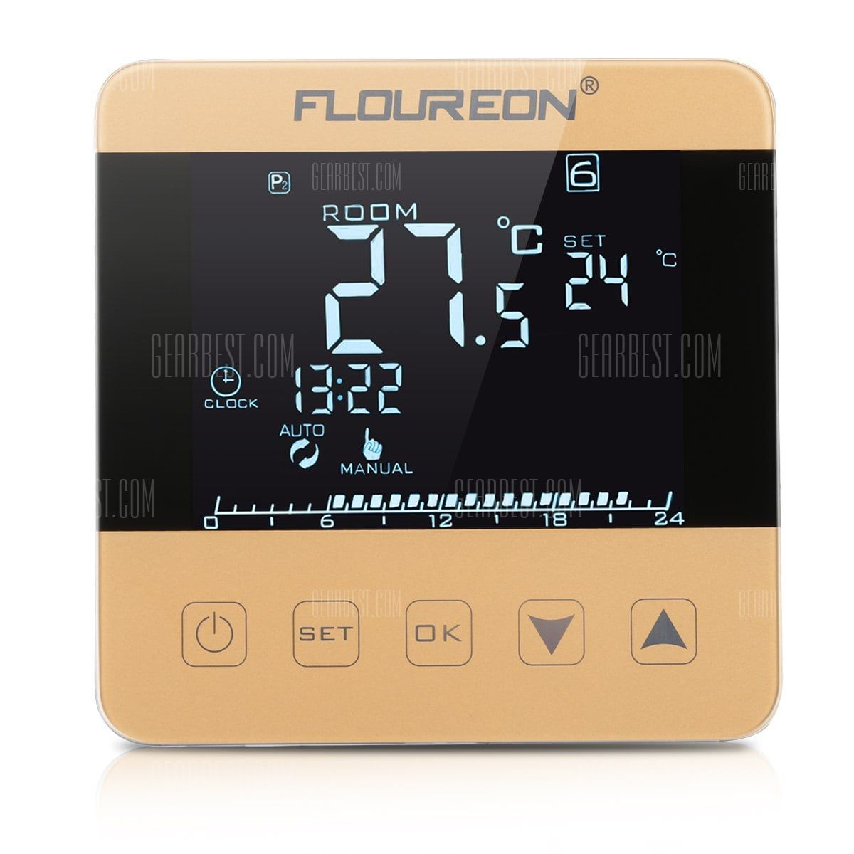 Pl Floureon Electric Heating Thermostat Lcd Display Temperature Controller Hy08we 3 Golden For 22 Heating Thermostat Electric Underfloor Heating Thermostat