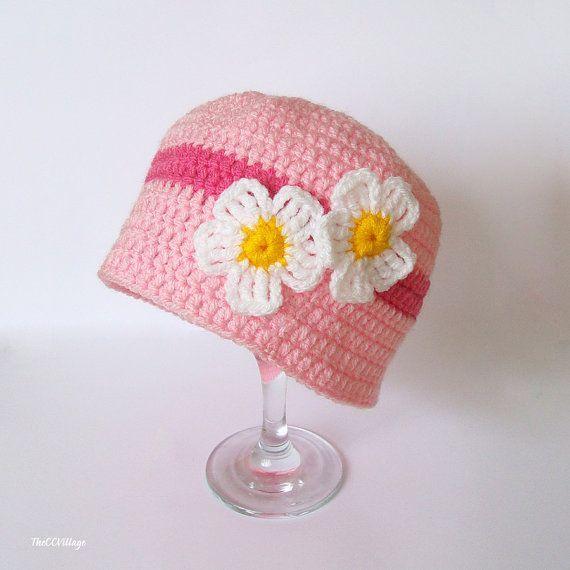 Crochet Baby Hats Pink Crochet Baby Hat Crochet Girl Hat crochet Cap ...