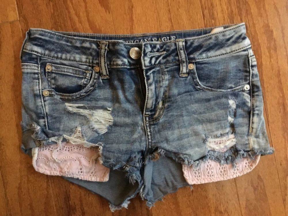 ef852473ce American Eagle Denim Shorts Size 4 Super Stretch Shortie Jean Cut Off  Frayed #fashion #clothing #shoes #accessories #womensclothing #shorts (ebay  link)