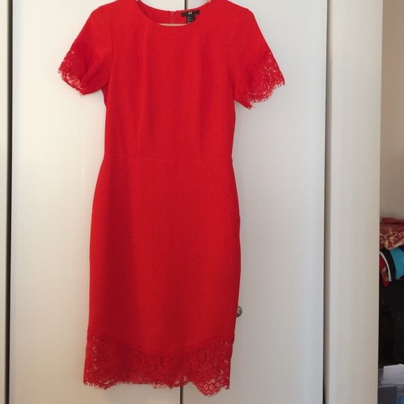Red H&M Midi Dress. Size 6. Like new Red H&M Midi Dress. Size 6. Like new. Really stretchy. Lace details on sleeves and bottom. H&M Dresses Midi