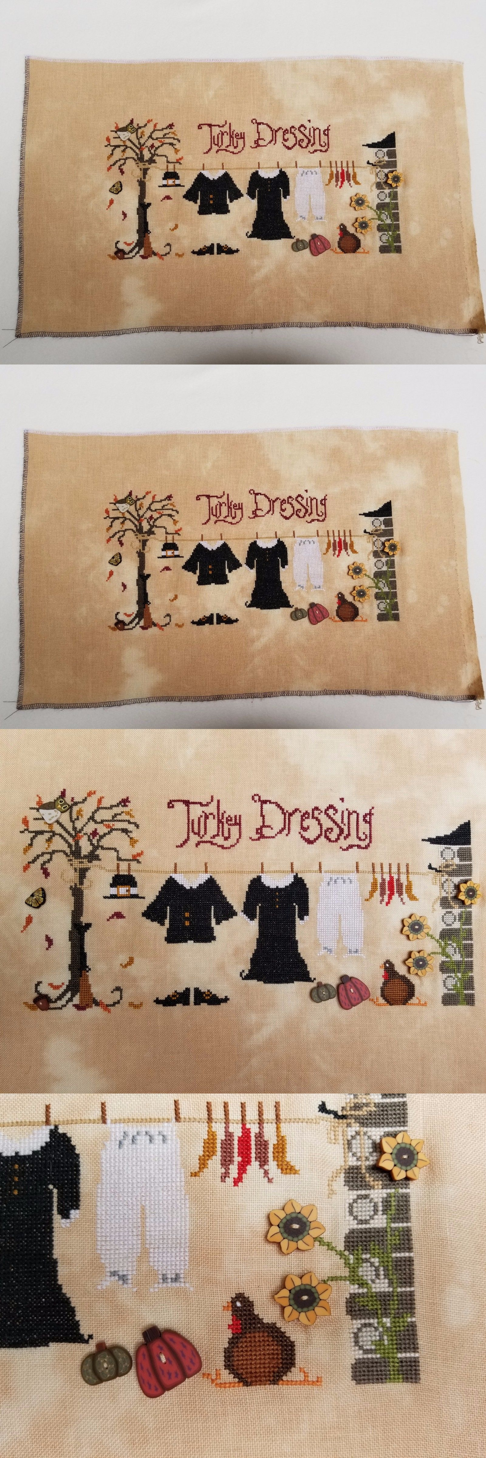 Finished Cross Stitch Pieces 71189: Turkey Dressing - A Unique Thanksgiving Finished Cross Stitch -> BUY IT NOW ONLY: $75 on eBay!
